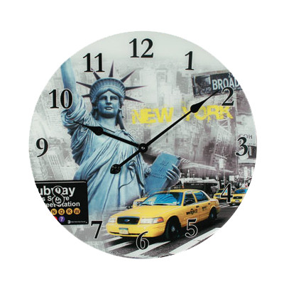 wanduhr new york usa glas 57cm uhr amerika yellow cab liberty broadway motiv 1 ebay. Black Bedroom Furniture Sets. Home Design Ideas